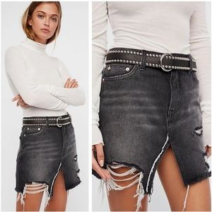 Free People Black Relaxed & Destroyed Denim Skirt